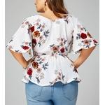 t-femmes-Blouse-grande-taille-Sexy-col-en-V-imprim-fleuri-manches-vas-es-ceinture