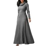 Femmes-robe-manches-longues-grande-taille-l-gant-longue-robe-Maxi-automne-chaud-col-roul-femme