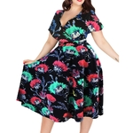 Wipalo-Femmes-Sexy-V-cou-courtes-manches-50-s-Partie-robe-lignes-Vintage-Extensible-Midi-grande