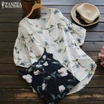 L-t-hauts-Femmes-Chemisier-2019-ZANZEA-Femme-V-Cou-Haut-Imprim-Vintage-Lanterne-Manches-Courtes