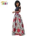 JRRY-Nouveau-Deux-Pi-ces-D-contract-Femmes-Maxi-Robes-Manches-Courtes-Haut-Noir-Longue-Motif