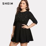 SHEIN-Noir-Col-Rond-Robe-de-Printemps-Grande-Taille-Femmes-Perle-Perles-Ajust-Evas-Grandes-Tailles