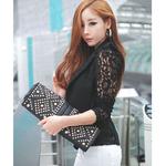 2019-l-gant-grande-taille-femmes-Blazer-noir-blanc-manches-longues-vider-tout-Match-femme-veste
