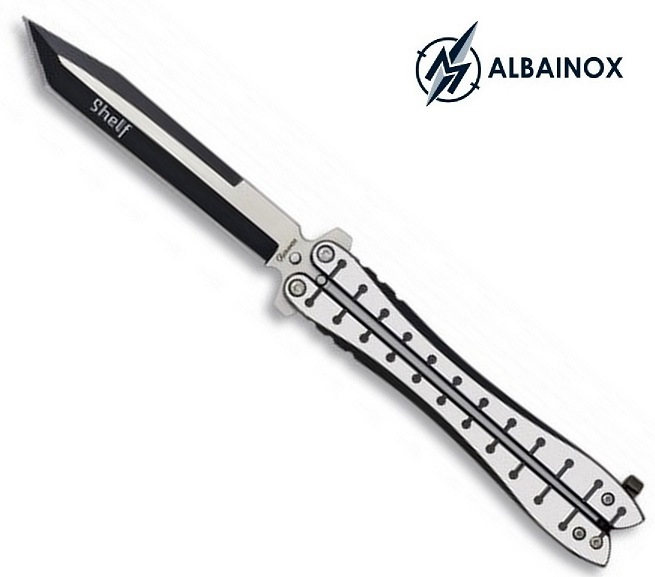 Couteau papillon balisong 23cm acier inox - ALBAINOX
