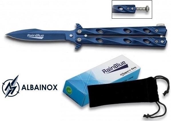 Couteau papillon balisong 20,5cm bleu + housse - ALBAINOX