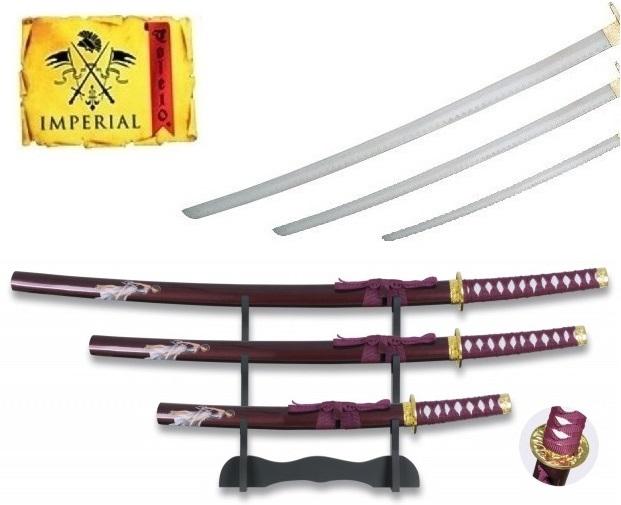 Lot 3 katanas arme + socle déco - katana design guerrière