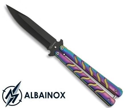 Couteau papillon balisong 22,6cm multicolore - ALBAINOX