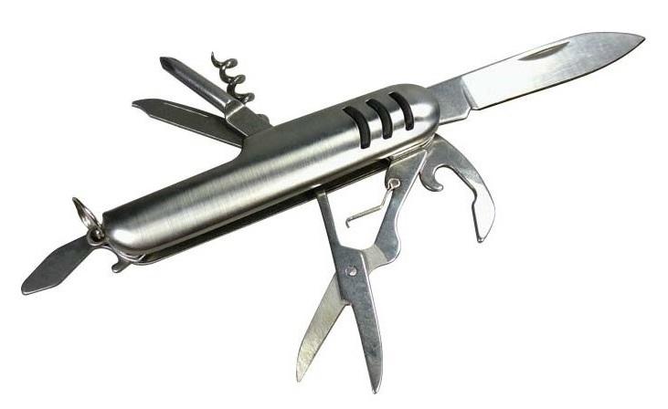 Couteau multifonction acier 7 outils camping