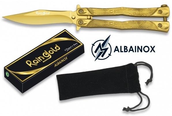 Couteau papillon balisong 18cm GOLD doré - ALBAINOX