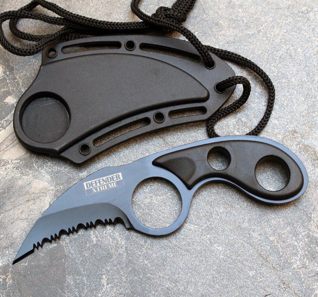Couteau griffe 14,2cm tactique + étui lanière cou