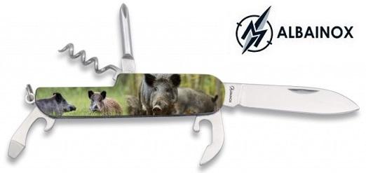 Couteau multifonction acier 5 outils ALBAINOX Sanglier.