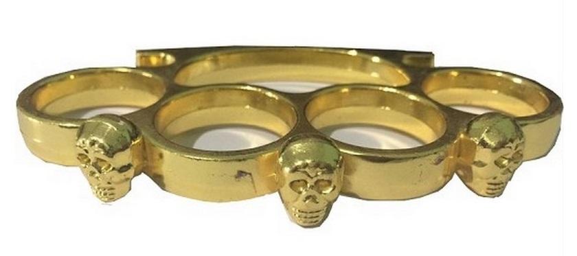 Poing américain acier doré Squelette tête de mort