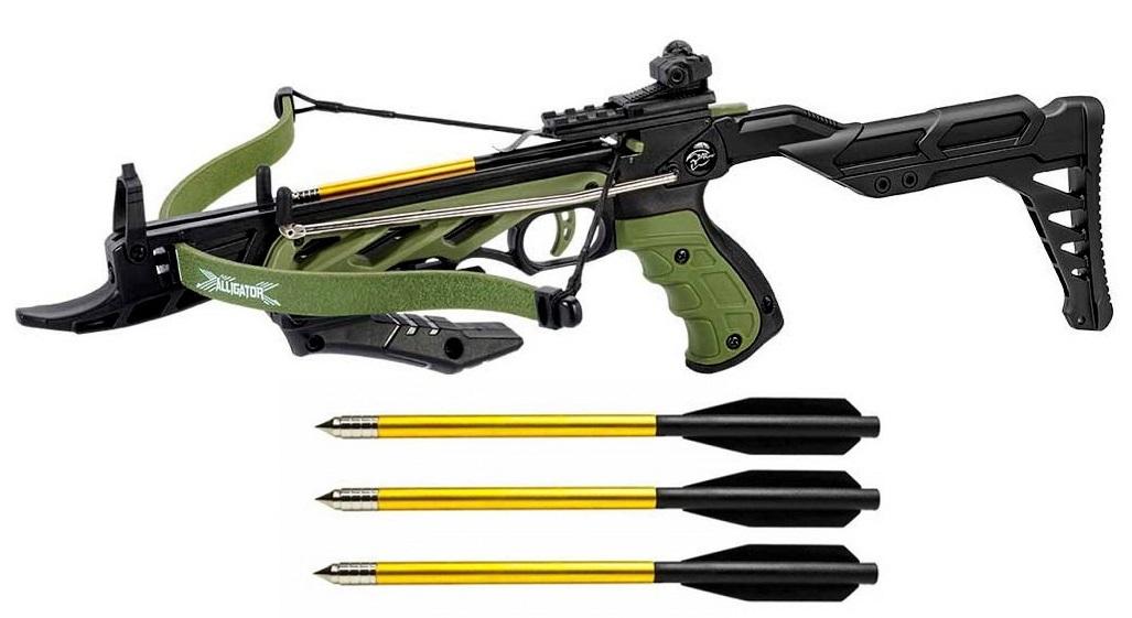 Arbalète pistolet 80 lbs crosse réglable + 3 flèches