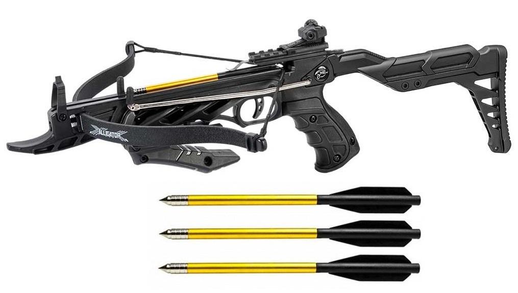 Arbalète pistolet 80 lbs noir crosse réglable