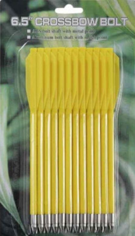 Lot 12 Flèches traits jaunes pour arbalète