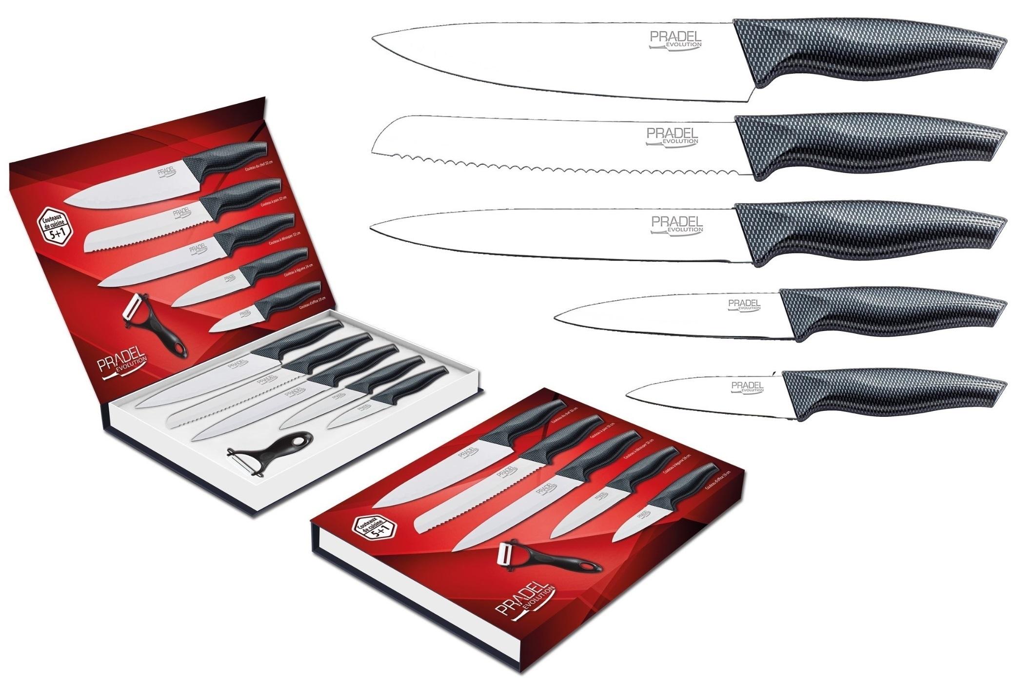 Coffret couteaux PRADEL couteau de cuisine table - Acier blanc