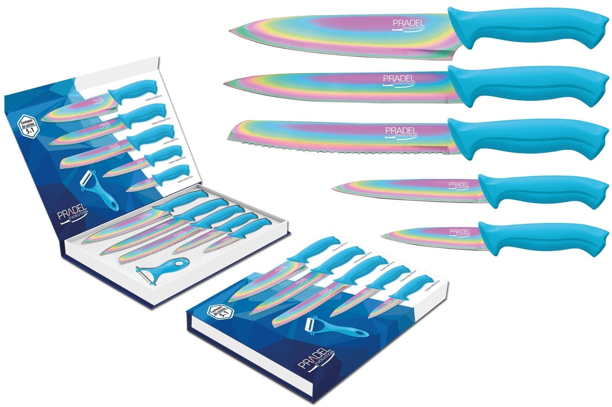 Coffret couteaux PRADEL couteau de cuisine table - Titane multi bleu