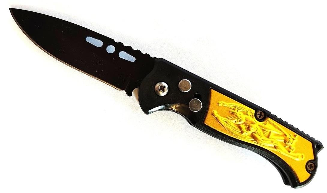 Couteau automatique 15,8cm cran d\'arrêt compact jaune