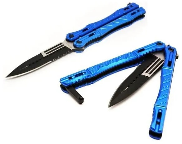 Couteau papillon night fighter - balisong bleu