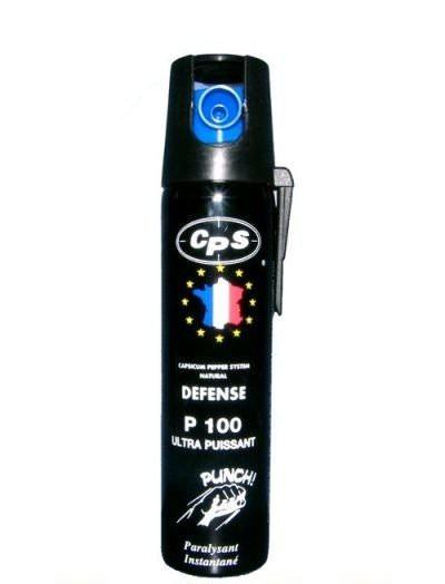 Bombe lacrymogène 75ml POIVRE OC - aérosol lacrymo