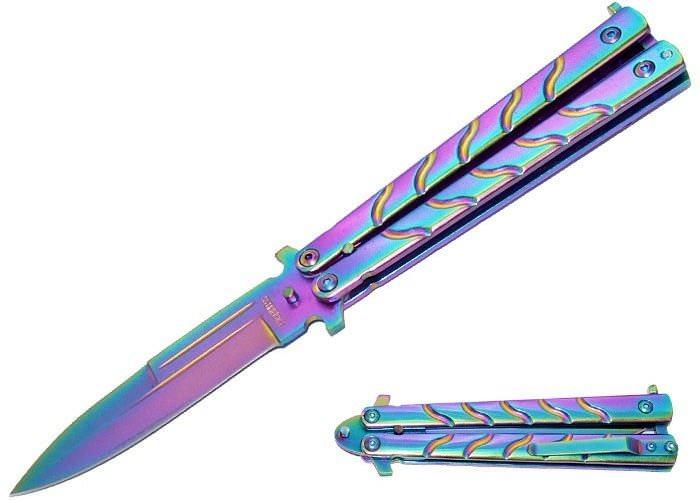 couteau papillon multicolore