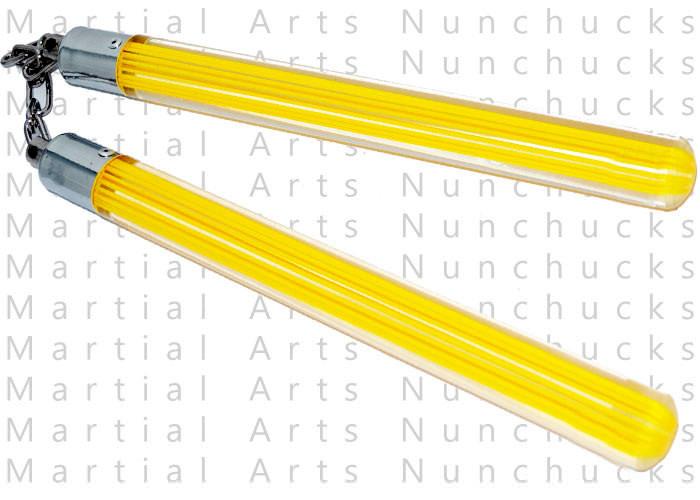 Nunchaku transparent en acrylique - jaune