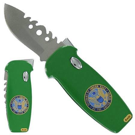 Couteau automatique vétéran + briquet gaz - vert
