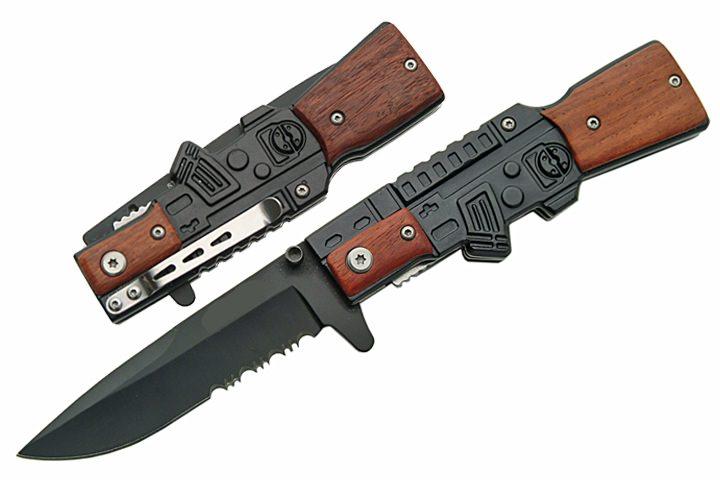 couteau style fusil ak47 m tal et bois gun3 couteau pliant couteau azur. Black Bedroom Furniture Sets. Home Design Ideas