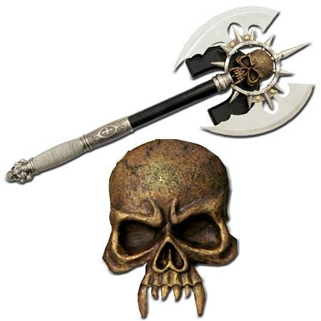 Hache Squelette 2 lames + plaque déco - Hachette