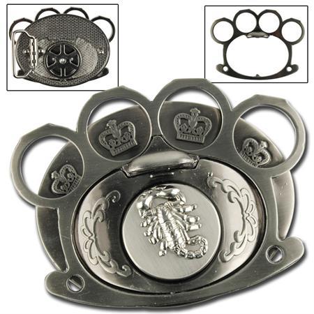 Boucle de ceinture + poing américain - Scorpion argenté - Poing ... e190298934a