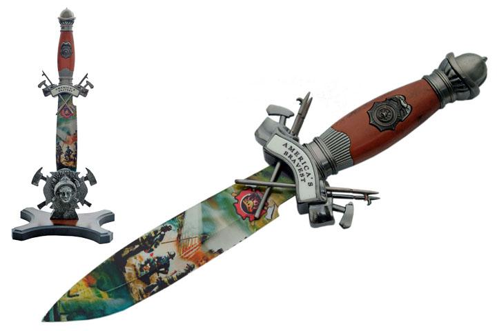 Dague décorative 31cm + socle bois collection - D0936