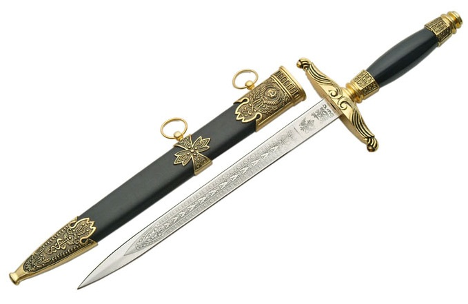 Dague médiévale en laiton + fourreau - D1111