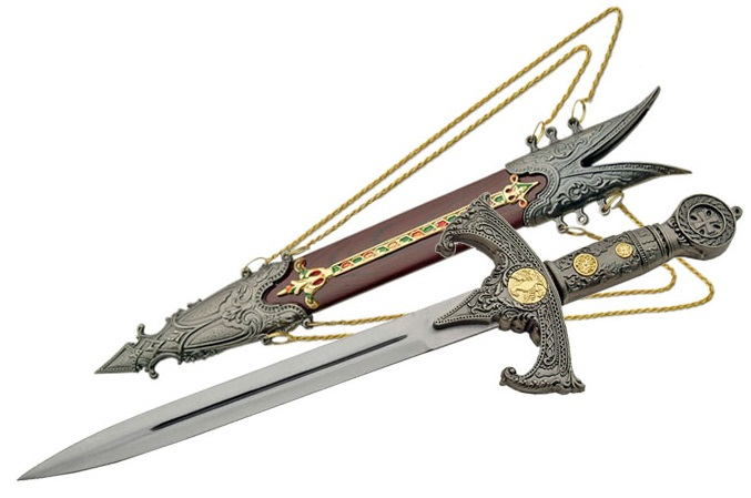 Dague médiévale du Roi 39cm + fourreau - D0868