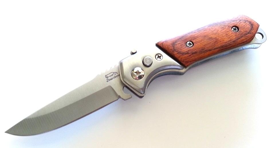 Couteau automatique 15cm métal et bois - C012 (2)
