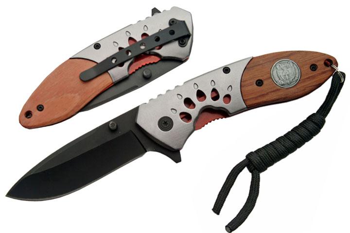 Couteau pliant Ours 19cm - bois et métal BR102