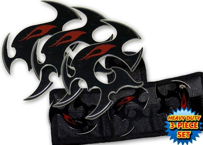 Pack 3 étoiles de jet + étui, shuriken - noir TK9
