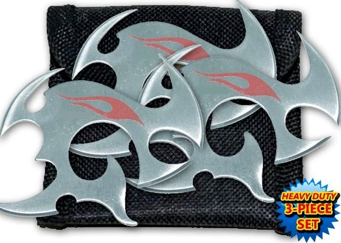 Pack 3 étoiles de jet + étui, shuriken - gris TK11
