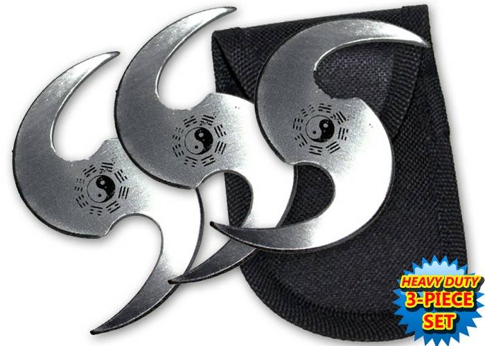 Pack 3 étoiles Le Yin et le Yang, shuriken - gris TK7