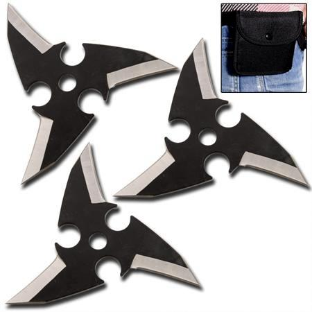 Pack 3 étoiles Dragon Eye, shuriken - noir WG991