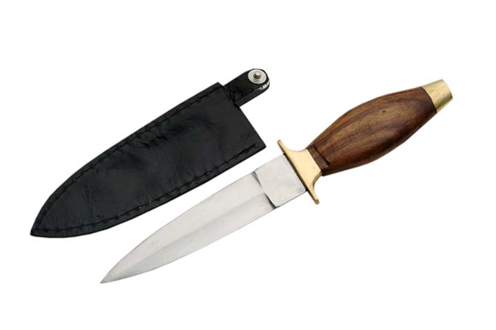 Couteau de botte 19cm, bois et laiton - Léopard