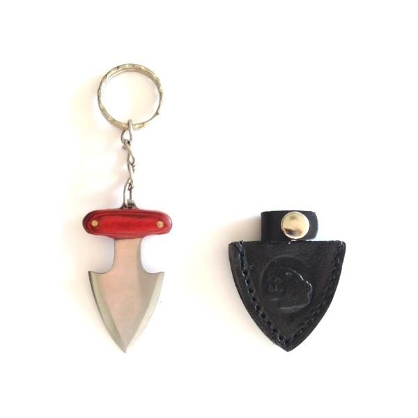 Porte-clé lame 5,5cm - mini dague de botte - marron