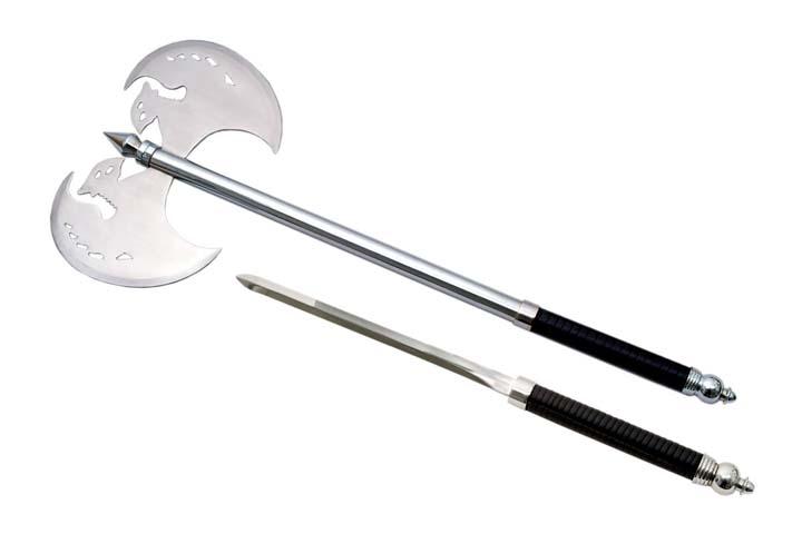 Hache Extreme 75cm métal + épée - Hallebarde H2437