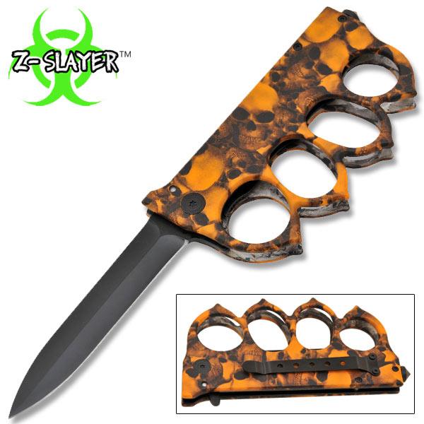 Couteau squelette 23cm poing américain - OR162