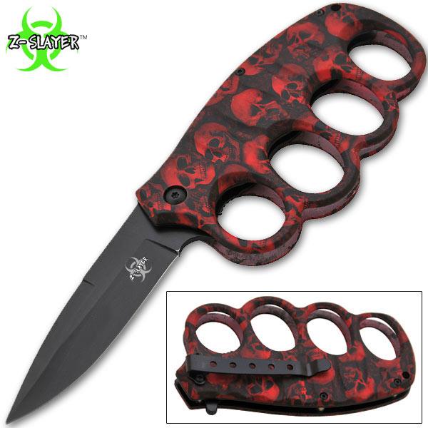Couteau squelette 20cm poing américain - RD14K