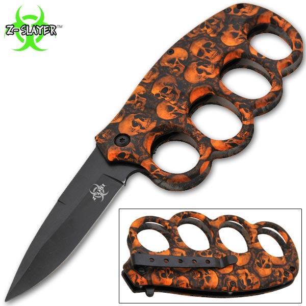 Couteau squelette 20cm poing américain - K14OR
