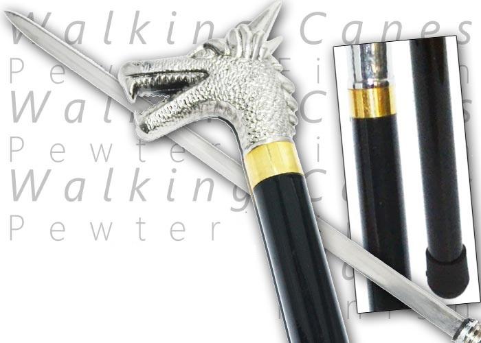 Canne épée 85cm Dragon métal - MKM131