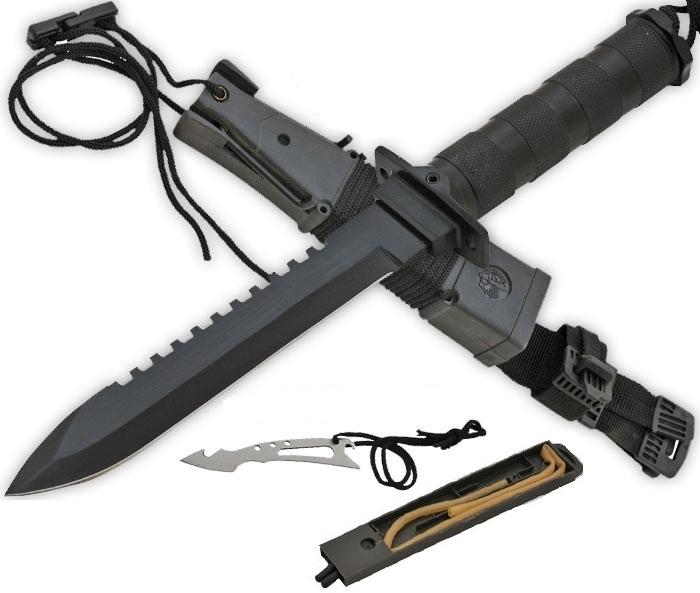 Pack poignard + couteau + fronde + kit survie