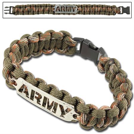 Bracelet paracorde survie + plaque métal Army