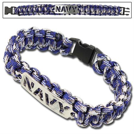 Bracelet paracorde survie + plaque métal Navy (2)