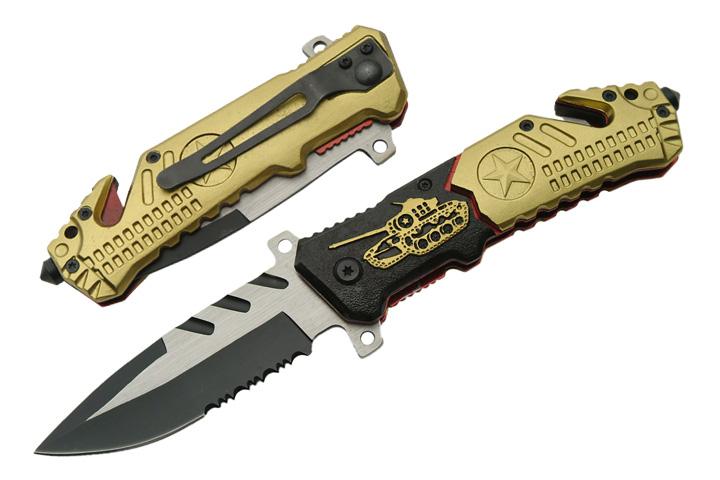 Couteau métal 20,5cm, déco Tank - GN258
